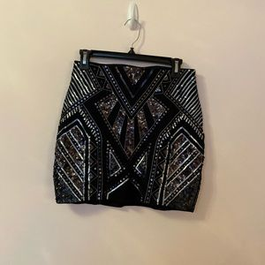 EXPRESS black sequined mini skirt size small